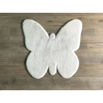 NEW! Machine Washable Faux Rabbit Fur Butterfly Area Rug