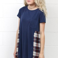 Two for One Plaid Accent Blouse {Navy}
