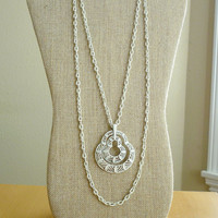 Trifari Necklace White Enamel Mod Sixties Long Chandelier Multi Chain Boho Chic Vintage Jewelry