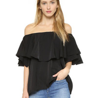 Black Off Shoulder Flounced Layer T-Shirt