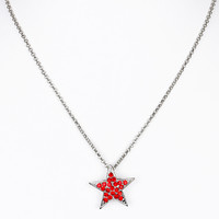 NECKLACE / PAVE CRYSTAL STONE / STAR / CHAIN / 18 INCH LONG / 1 INCH DROP / NICKEL AND LEAD COMPLIANT