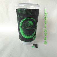 Star Wars coffee sleeve,  Death Star cup cozy, Star Wars gift, Insulated hot beverage coozie