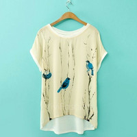 Europe New Fashion Women Spring & Summer Loose T-shirt Bird Blue Print Batwing Sleeve Joint Tees Tops VVF = 1945998532