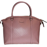 Gucci Handbag - Top Handle Zip Dome Micro-Guccissima Leather Crossbody - Detachable Strap - Light-Pink Color - Model #449657