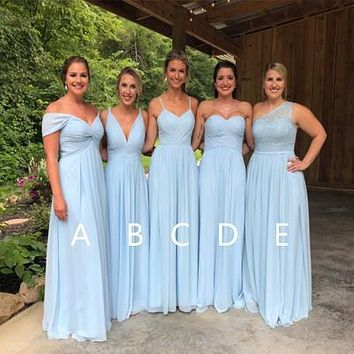 Chiffon Bridesmaid Dresses, Light Blue Bridesmaid Dress BM0004