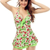 Women's Fashion One Piece Halter Push Up Strawberry Ruched Slim Fit Tankini Swim Dress Swimsuit = 1956691204