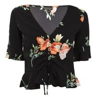 Floral Ruched Blouse