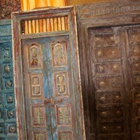 Antique Indian HandCarved Distressed Double Doors Frame Solid Teak Architectural