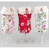 Thickening Cotton Dog Clothes Winter Pet Clothing For Dogs Coat And Jacket Warm Small Dog Vest Pink Dog's Costume Appar