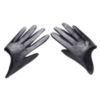 Black Leather Half Gloves