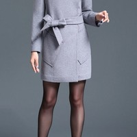 Gray Turteneck Long Sleeve Wool Trench Coat