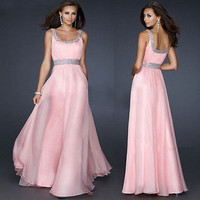 Sexy Women Sleeveless Sequins Pink Chiffon Long Dress  Backless Evening Party Gown Formal Bridesmaid  Dress UK