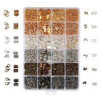 24 Style 2460 Pcs/ Box Jewelry Making Kit 6 Colors with Open Jump Rings, Lobster Clasps, Cord Ends and Ribbon Ends