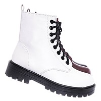 Firm Lace Up Combat Bootie - Fashion Military Threaded Lug Sole Ankle Boots