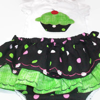 Diaper Cover Set - Cupcake Baby Girl Outfit  - Skirted Diaper Cover - Tutu Outfit