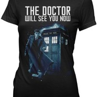 Doctor Who Doctor Will See You Now Tenth Juniors Tee