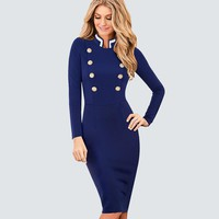 Casual Work Business Office Ladies Dresses Women Vintage Long Sleeve Double-Breasted Buttons Bodycon Autumn Winter Dress HB410