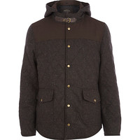 River Island MensBrown fleck quilted jacket