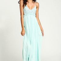 MINT CROCHET BACKLESS MAXI DRESS