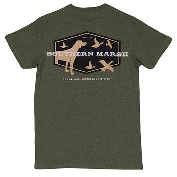 Branding Collection - Hunting Dog Tee in Washed Dark Green by Southern Marsh