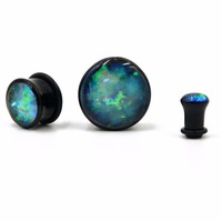 Black Acrylic Single Flare Ear Tunnel Plugs With O Ring Like Opal Stone Crystal Earlet Expander Gauges Piercing Body Jewelry
