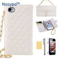 iphone 5S Case, Nccypo Noble Elegant Pendant Handbag Chain Style PU Leather Purse Wallet Case Cover Protector with Credit Card Slots,Stylus,Screen Protector and Cleaning Cloth Compatible for Apple iPhone 5 5G 5S(Red)