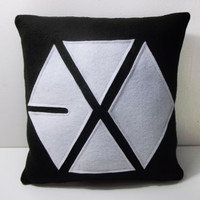 EXO Kpop Boy Group Logo Decorative Fleece Pillow