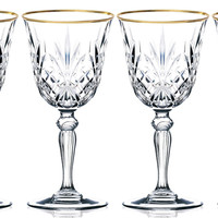 Sienna Collection Crystal, White Wine Glass with Gold Trim, Set of 4