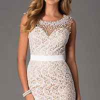 Short Sleeveless Ivory Lace Prom Dress