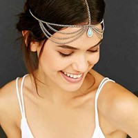 Turquoise Drop Goddess Chain Headwrap - Gold One