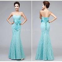 Mint Green Mermaid Lace Bridesmaid Dresses Wedding Party Long Gown Sweetheart Sleeveless Lace-up Floor Length Bows Ribbon CR1426