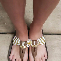 Prep Tide Gold Metallic Leather Strap Thong Flip Flops