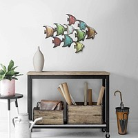 Three Dimensional Hanging Metal Fish Wall Art Decor, Multicolor By Casagear Home