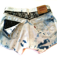 Vintage 501 Levis High Waisted BLACK LACE Frayed STUDDED Cut Off Shorts