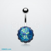 Blue Ocean Opal Sparkle Belly Button Ring