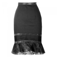 Queen of Darkness New Ladies Black Gothic Knee Length Skirt Pencil Party Evening