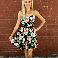 Somewhere With You Dress- Black/Multi