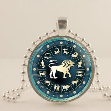 Leo birth sign, Zodiac, Astrology glass and metal Pendant necklace Jewelry.