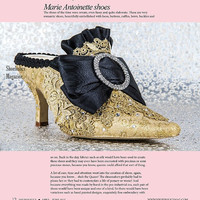 Marie Antoinette Wedding Shoes .. Gold and Black Shoes .. Low heel shoes .. Personalized Design .. FREE Shipping within the USA