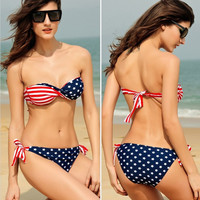 New Arrival Sexy Hot Swimsuit Summer Beach Bra Flag Swimwear Bikini [4923256772]