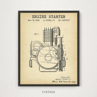 Engine Starter Patent Print, Motorcycle Art, Motorcycle Enthusiast Gift, Man Cave Wall Art, Motorcycle Poster, Motorbike Parts, Engine Art