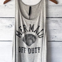 Mermaid Off Duty Tank Top in Heather Grey