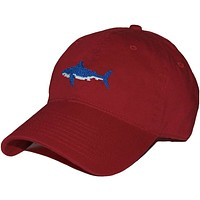 Shark Needlepoint Hat in Faded Red by Smathers & Branson