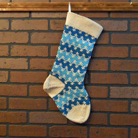 Striped Christmas Stocking, Hand Knit in Teal, Aqua and Off-White, Zigzag Stocking, Can Be Personalized, Housewarming/ Wedding/ Baby Gift