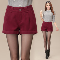 High Waist  Buttoned Scalloped Pocket Wide Leg Woolen Shorts