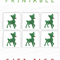Printable Christmas Gift Tags, Rudolph Red Nosed Reindeer, Holiday Gift Labels, Christmas Hang Tag, To From, Xmas Gift Tag, Party Favor Tags