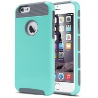 iPhone 6 Case, iPhone 6S Case (4.7 inch), ULAK Dual-Layer Slim Case for Apple iPhone 6 (2014) / 6S (2015) 4.7 inch 2-Piece Style Hybrid Hard Cover (Mint Green/ Gray)