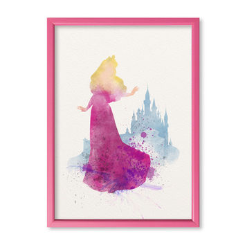 Sleeping Beauty Princess FRAMED Watercolor print Disney Sleeping Beauty Watercolor Illustration poster Kids Wall art Nursery Giclee Print