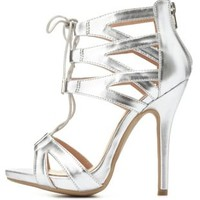 Metallic Caged Cut-Out Lace-Up Heels by Charlotte Russe