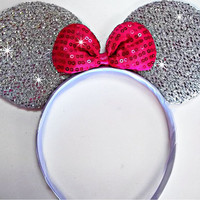 Minnie Mouse ears headband Silver Sparkle ears Pink Sequin Bow Mickey Mouse Ears, Disneyland, Disney World
